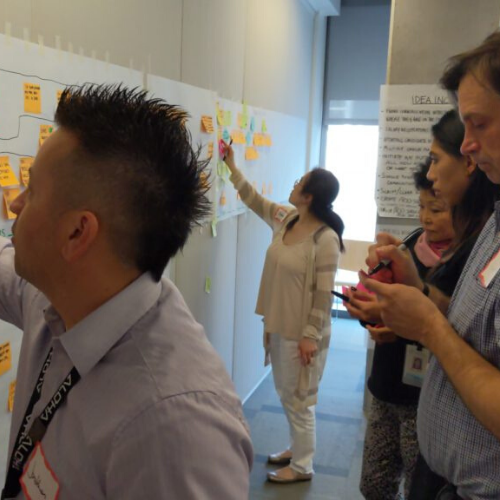 City staff organizing sticky notes as part of LEAN process